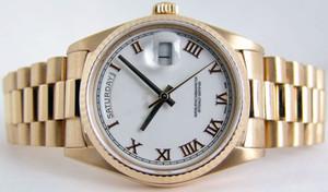 Top Quality Day Date Presidente 18K oro giallo bianco quadrante romano 18038 36mm Sport da uomo Orologi da polso Mens Automatic Mens Watch