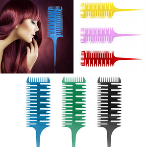 6 colori 3-Way Sectioning Highlight Pettine Professionale Facile da usare Weave Weaving hair Comb Spazzole per capelli Dye Styling Tool For Salon