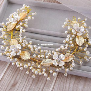 Luxury Handmade Pageant Prom Headband Imitate Pearl Rhinestone Crystal Headpiece Hair Jewelry Wedding Bridal Headband Hair Accessories 2017