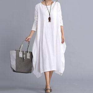 New Womens Ladies Casual Long Sleeve Loose Cotton Linen Maxi Long Dress Kaftan 2 Colors 4 Size