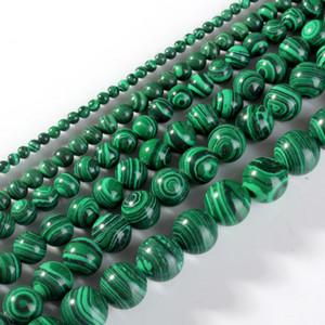 Natural Malaquita Pedra Contas Verde Rodada Solta Pérolas 4 6 8 10 12 14mm para Jóias pulseira Colar Fazendo Contas DIY