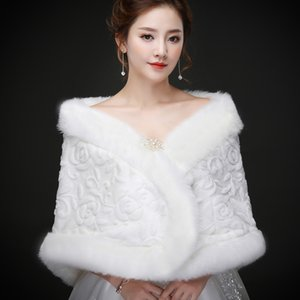 Real photos Moden Faux Fur Warm Bridal Bolero Wedding Jacket Coats Bridal Wraps Shawl Wedding Cape Cloak Wholesale