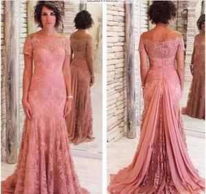 Bescheidene Designer Mutter der Braut Kleider für Hochzeiten Kurzarm U-Boot-Ausschnitt Mutter der Bräutigam Kleider plus Größe billig Abendkleid benutzerdefinierte