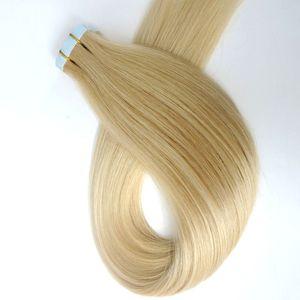 İnsan saç uzatma 18 20 22 24inch 60 # / Platin Sarışın Brezilyalı Hint Remy İnsan Saç In 100g 40pcs / Paketi Tutkal Cilt Atkı Bant