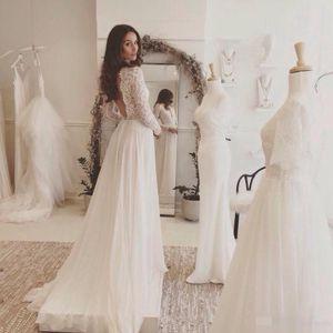 Sexy линию Backless шнурка шифон пляж Свадебные платья 2020 Длинные рукава Деревенское Vintage платье невесты Vestidos де Noivas пункт Casamento