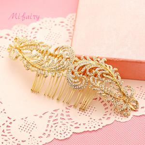 Accesorios hechos a mano del pelo de la boda del oro cristales de gama alta postizos nupciales delicado pequeñas peinetas del pelo del baile de fin de curso H118