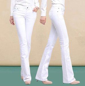 Wholesale- Spring Autumn Skinny High Waist Jeans Pants Long Korean Fashion Stretch Flared Boot Cut Jeans Women Black White