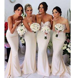 Champagner Brautjungfer Kleid Sexy Meerjungfrau Schatz Perlen Bodenlangen Hochzeit Braut Party Kleider Robes de Demoiselle d'Honneur