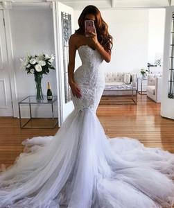 Modest Mermaid Mariage Robe 2018 Dernière mode Robes de mariée Custom Vestidos de Novia Dentelle Sweetheart Tulle Tulle Trumpet Tri train