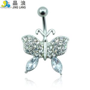 Bricolage Nouveau Design Top Vente Haute Qualité Mode 2 Couleurs Strass Papillon Navel Piecing Anneaux Pour Femmes Corps Bijoux