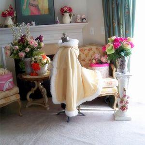 Cappotto lungo di lunghezza del pavimento Mantella bianca da sposa Mantella Giacca di pelliccia sintetica Per bambini di capretti della tuta sportiva dei capretti della ragazza di fiore di inverno