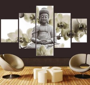 Unframed 5 패널 대형 난초 배경 Buddha Painting Fengshui 캔버스 아트 벽 거실 용 사진 여성용 홈 장식