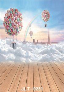 Ballon à air chaud arc en ciel nuage plancher en bois photographie fond pour mariage enfants bébé ordinateur vinyle imprimé toile de fond pour studio photo