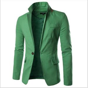 Venta al por mayor- PRESENTE COMPRARLO! 2017 Moda Cuello Diseñador Blazers Hombres Algodón Ropa de Algodón Hombres Traje Chaqueta Sólido One Button Hombres Blazers Abrigo Más Tamaño