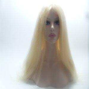 # 613 Capelli biondi lisci vergini indiani remy capelli umani 100% anteriore / parrucca piena del merletto parrucca piena del merletto dei capelli umani fatti PERSONALIZZATO / parrucche KABELL WIGS JEWS