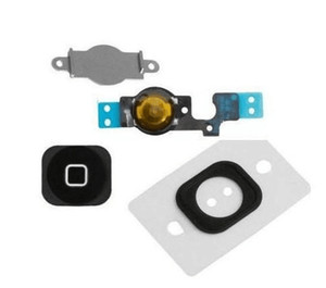 NEW Home Menu Button Key Cap sticker + Flex Cable + Bracket Holder rubber for iPhone 5 5c Home Button Set Black White