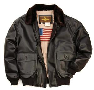 Landing Leathers US Navy Flying jacket Combinaison de vol Guerre mondiale classique G1 manteaux pour homme avec des fourrures sur Lapel