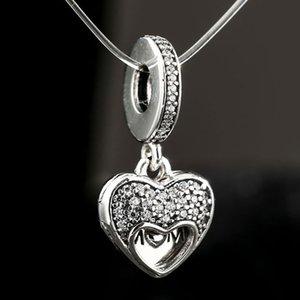 2017 Fête des Mères Cadeau I Amour Ma Maman Charmes Pendentif 925 Sterling Argent Émail CZ Dangle Perles Pour DIY Fabrication de Bijoux