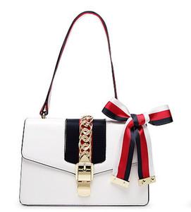 Новая кнопка блокировки цепи из натуральной кожи женщин дизайнер одно плечо сумка через плечо леди модные сумки черный / красный / белый no151