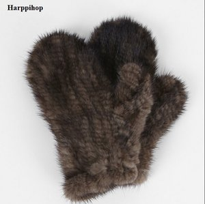Al por mayor- Harppihop Fur Genuine-Mink-Fur sofe - Guantes de piel natural Mitten-New-Fur-Design-for-this-Winter-black and brown colors