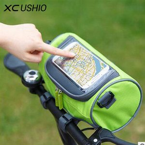 Waterproof Mountain Bike Bicycle Bags Panniers Touch Screen Cycling Phone Bag Case Road Bike Front Tube Handlebar Cylinder Bag