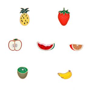 Toptan-meyve Emaye iğneler Seti elma Çilek Muz ananas karpuz kivi portakal Broş Kadın Çocuklar Kız Giyim Aksesuarları