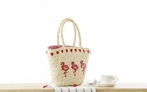 Saco de mão de Hot New coreano Bordados Mulheres Ombro Grande Straw Bag Moda Flamingo Beach Bags Big Tote Bag Woven