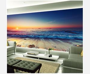 Cusotm toute taille belle vague de coucher du soleil pierre 3D fond murale murale 3d papier peint 3d papiers peints pour toile de fond tv