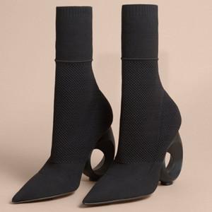 وأشار اليدوية 100 ٪ جلد طبيعي أحذية نسائية الحياكة الصوف أحذية خاصة عالية الكعب التمهيد قصيرة الأحذية تمتد الصنادل الصنادل