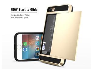 Etui portefeuille pour iPhone 7 / 7Plus Armor Slide Grand étui pour carte de crédit de luxe Hybride Etui portefeuille pour téléphone PC Couverture arrière