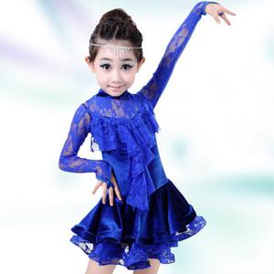 Оптовая новый детский латинский танец платье девушки сладкий кружева пачка бальный зал производительность костюм конкурс одежда 120-160 см