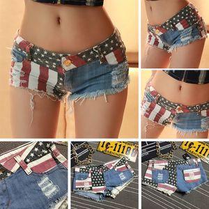 2017 Hot Sexy American Flag Short cintura baja Bar Club Hole Ripped Cut Off Ladies Fashion corto verano Jeans