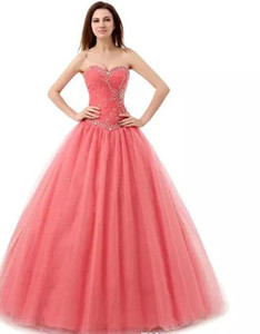 Custom Made Elegant Sweetheart Quinceanera Dresses Crystals Beads Sequins Lace-up Back Ball Gown graduation dress Plus Size Prom Dresses