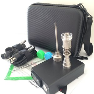 Cheap electric nail dab E domeless Nail bong glass oil rig PID digital box Titanium Quartz nail kit E D flat 10mm 14mm male