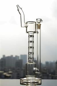 Embriagadora línea ascendente del tubo de agua de bambú únicos Spline Perc grueso Vaso Base Bong Claro cuello inclinado Tipo Dab Rig envío