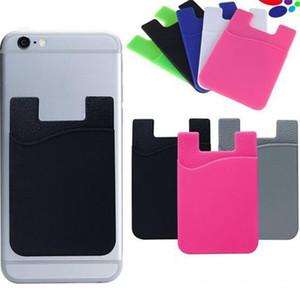 Carte universelle auto-adhésif silicone Wallet ID Crédit Cash Pocket Holder Sticker pochettes pour téléphones intelligents