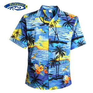 Wholesale- Men Aloha Shirt Cruise Tropical Luau Beach Hawaiian Party Sunset Palm Tree Blue And Red US SIZE Casual Hawaiians Shirts V25