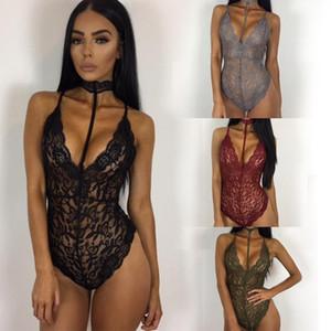 Novo Padrão Sexy Body Sculpting Sabor Rendas Lin Tai Roupas terno-vestido bodycon halter macacões bodysuit para macacões mulher