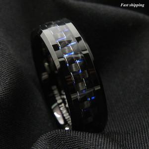 Gnex Jewelry Promise Anello in carburo di tungsteno Anelli di fidanzamento 8mm Loves Wedding Bands Nero In fibra di carbonio Inlay Uomo Donna Bands Size 6-13