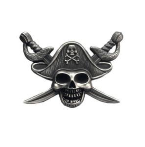 Piratas de luxo do Caribbe Emblema Crânio Broche Motociclista Motociclista Broches Para Jaqueta Chapéu Retro De Metal Colarinho Pin Broche