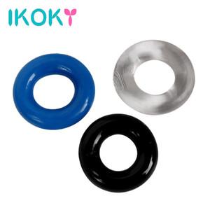 Commercio all'ingrosso- IKOKY giocattoli del sesso del silicone per gli uomini ritardo maschile eiaculazione pene manica cock ring anello pene prodotti del sesso multicolore castità