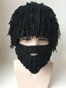 Peruk Sakal Şapka Hobo Mad Scientist Rasta Caveman El Yapımı Örgü Sıcak Kış Caps Erkekler Kadınlar Cadılar Bayramı Hediye Komik Parti Maskesi ...