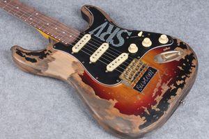 Súper Raras 10S tienda de encargo Masterbuilt edición limitada Stevie Ray Vaughan tributo SRV Strat Ocaster de la guitarra eléctrica de la vendimia del resplandor solar