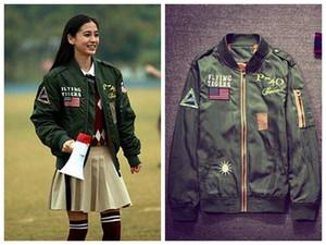 Running Man Stesso Paragrafo Moda Retro ricamo Pilot Jacket Donna Casual Tuta da baseball Adolescente Coppie Sottile Cappotto