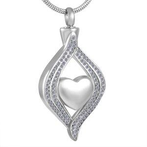 MJD8111 Corazón en cristal de acero inoxidable Memorial Urn joyería cremación cenizas urn collar para mujeres hombres