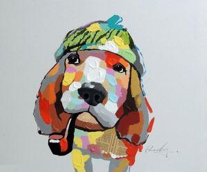 Framed Hound Dog Portrait Mixed Media Pop Art Pittura A Olio, Pure Dipinta A Mano Astratta Moderna Decorazione Della Parete di Tela Pictures.Multi size, joh