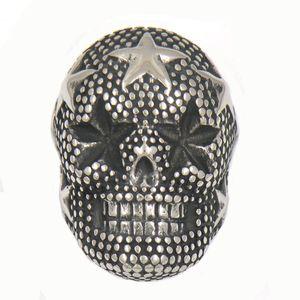 FANSSTEEL STAINLESS STEEL 펑크 빈티지 MENS 쥬얼리 STAR SKULL HEAD BIKER RING 선물 형제 자매 13W85