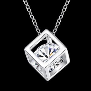 KASANIER women silver jewelry zircon Hao stone Magic square necklace and pendants for necklaces Women Party Gift