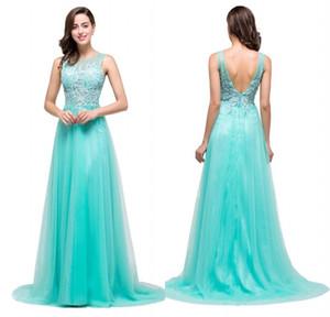 Vestidos de ocasión para el diseñador 2018 Barato de encaje de color turquesa Tul Vestido largo de fiesta Vestido de fiesta de dama Vestidos CPS383