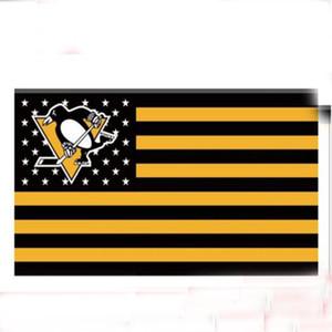 3Ftx5Ft Penguins de Pittsburgh Drapeau US Étoile et Drapeau de Bande Drapeau 100D Drapeau de Polyester Oeillets En Métal Décorations